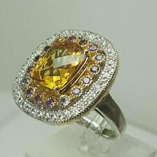 HSN Sima K 4.92ct Honey Quartz & Gemstone Sterling Silver & Vermeil Ring SZ 10