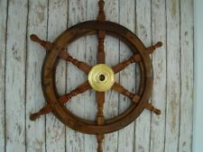 "24"" Wooden Brass Ship Wheel Nautical Collectible Maritime Wall Decor Pirate Gift"