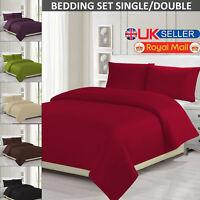 Plain Duvet Quilt Single & Double Bedding Cover With Pillowcase Bed Sheet Set UK