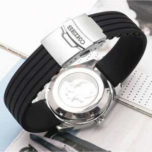 REPLACEMENT SEIKO RUBBER WATCH BAND BLACK 22MM