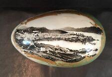 "Antique Porcelain Covered Egg Box 6-1/2"" Long Gilt Picture of Nice, France Coast"