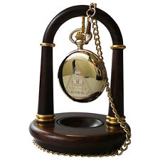 POCKET WATCH STAND Wooden Display Hanger Holder Luxury Crafted Real Wood Gold
