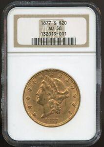 1877 S $20 Gold Liberty Double Eagle AU 58 NGC, Near Mint, Better Date!
