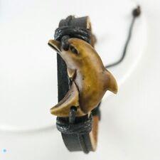 Vintage Handmade Black Leather and Carved Dolphin Adjustable Surfer Bracelet
