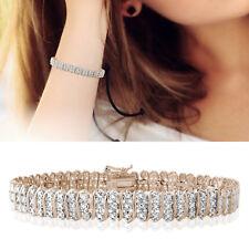 "18K Rose Gold Finish Over Brass Diamond 1CTW S Link Tennis Bracelet 8MM 7.5"""