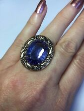 Designer Amy Russell Blue Helenite Fancy Oval Bronze 14kt Plated Ring Size 7