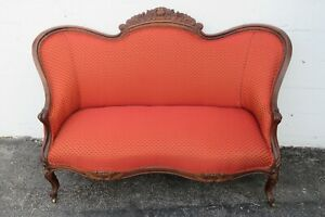 Victorian 1800s Hand Carved Rose Wood Love Seat Settee Small Sofa Couch 2350