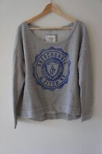 A&F ABERCROMBIE & FITCH GRAY LOOSE SWEATSHIRT HOODIE OFF SHOULDER M MEDIUM