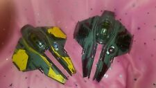 Lot of 2 2004 Lucas Films Star Wars Starfighter Ship Vehicles Maroon & Yellow