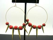 $15 Spring Street Large Wire Hoop Earrings Dangle Style RED Wood Beads & Spikes