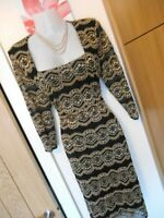**STUNNING** ROMAN SIZE 14 BLACK GOLD LACE LINED WIGGLE DRESS *FAST POSTAGE**