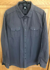 Rock & Republic Long Sleeve Button-Down Shirt gray striped cotton Mens Size XL