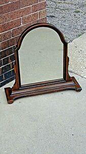 Antique Edwardian Walnut dresser chest pedestal Arched mirror