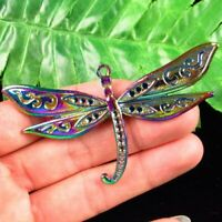 79x43x3mm Carved Rainbow Hematite dragonfly Pendant Bead CZY5