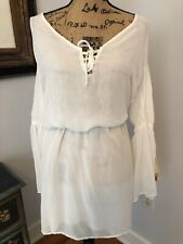 Lucy Love Nordstrom White Angelic Holiday Fall Bell Sleeve New Nwt Dress M 6 8