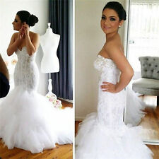 Sexy Sweetheart Beaded Lace Mermaid Tulle Wedding Dress Size 4 6 8 10 12 14 16++