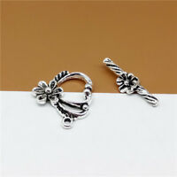 2 Set Sterling Silver Flower Toggle Clasp 925 Silver Bracelet Necklace Connector