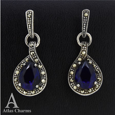 Marcasite Sapphire Earrings Sterling Silver Drop Dangle Weddings valentines gift