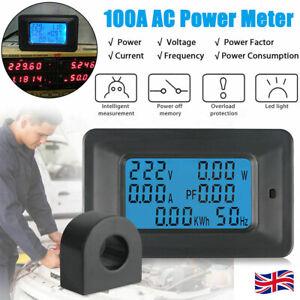 100A AC LCD Digital Panel Power Watt Meter Monitor Voltage Voltmeter Ammeter UK