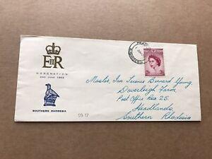 Southern Rhodesia 1953 FDC +QEII Coronation SG#77 +EnR & National Emblem Cachet
