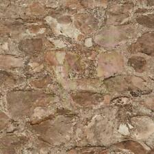 Wallpaper Faux Vinyl Field Stone Rock Taupe Rust Brown Putty