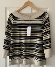 THOUGHT OATMEAL STRIPE COTTON WOOL JUMPER TOP UK 12 NEW