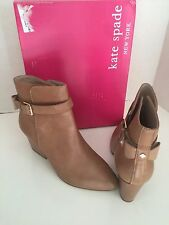 Kate Spade Brandi Tan Natural Desert Tumbled Leather Bow Back Ankle Boots 10
