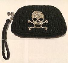 Rare Betsey Johnson Black Beaded Rhinestone Skull Clutch Purse !!