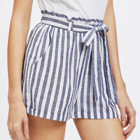 Women Sexy High Waist Stripe Short Hot Pants Summer Casual Mini Beach Shorts New