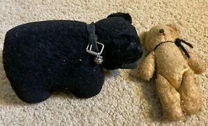 Vintage Jointed Mohair Teddy Bear + Black Bear w/bell