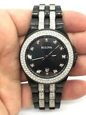 Bulova 98B251 Crystal Men's Black Stainless Steel with Sets of Crystal Watch