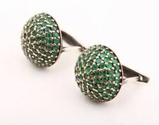 Exotic! Turkish Handmade Jewelry Emerald Round 925 Sterling Silver Earrings