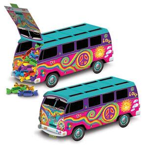 Groovy DISCO 60s Party Decoration HIPPIE Tie Dye LOVE PEACE VW BUS CENTERPIECE