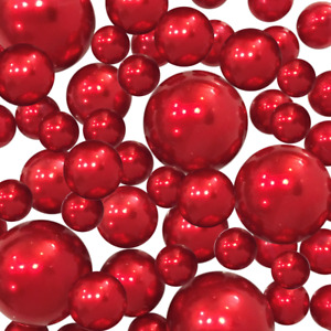 Red Pearls - No Hole Jumbo/Assorted Sizes Vase Decorations & Table Scatter