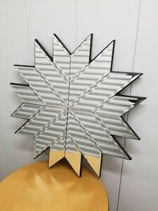 "LARGE 32"" MODERN Wall ART DECOR Beveled Mirror SNOW FLAKE STAR SUN BURST STYLE"