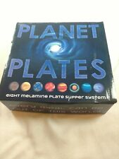 New listing Planet Plates Boxed Set 8 Melamine Astronomy 10 Inch Dinner Plates supper system