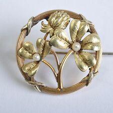 Estilo moderno Broche Amarillo y Oro verde, Perlas, Francia Bijoux FIX