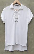 New Polo Ralph Lauren Golf White Boyfriend Mesh Lace Up T-shirt Top Tee S Small