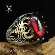 Vintage 925 STERLING SILVER Men RING Horoscope Scorpion red garnet