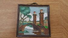 Vintage Decorative Delft Cloisonne Tile: 11.5cm x 11.5cm: Canal & Bridge