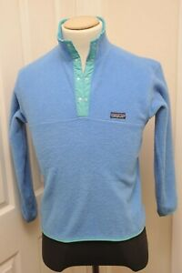 SUPER VINTAGE MADE IN USA PATAGONIA 1/4 BUTTON BLUE FLEECE 10 (XS - SMALL)