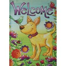 "Welcome Spring Summer Dog Flowers Butterfly 12.5"" x 18"" House Yard Garden Flag"