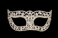 Maschera Veneziano Lupo Di Strass E Pizzo Di Metallo Carnevale Venezia 1273