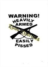 VINYL DECAL STICKER WARNING HEAVILY ARM..NRA..GUN RIGHTS...CAR TRUCK WINDOW