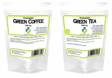60 Green Coffee Bean Extract 1000mg + 60 Green Tea 9000mg Diet Slim Pills Fat