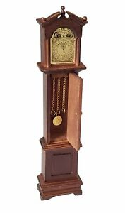 Miniature Dollhouse Grandfather Clock Walnut Color 1:12 Scale New