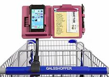 Pink Snap / Clip On Cart Hands Free Phone Coupon Grocery Shopping List Organizer