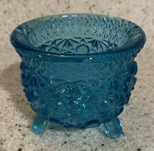 Teal Glass 3 Footed Votive Candle Holder