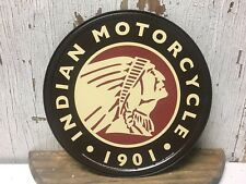"~ Indian Motorcycle 1901 ~ 12"" Round Metal Sign auto Garage mancave Gearhead"