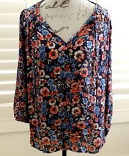Joie - brown and blue floral silk blouse